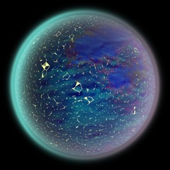 Illustration of a strange space. Fantasy planet somewhere