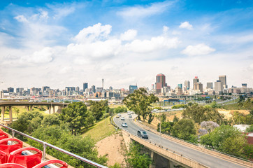 Johannesburg skyline with urban buildings and highways