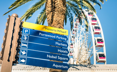 Urban sign at Victoria Wharf in Cape Town waterfront