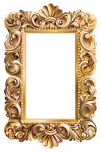 Cadre rococo rectangulaire doré