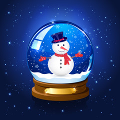Christmas starry background with snow globe and snowman
