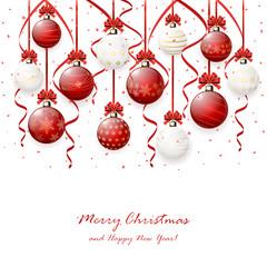 Hanging Christmas balls on white background
