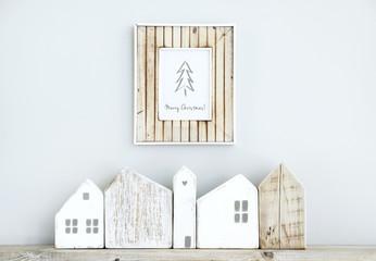 MERRY CHRISTMAS scandinavian  room interior with small houses