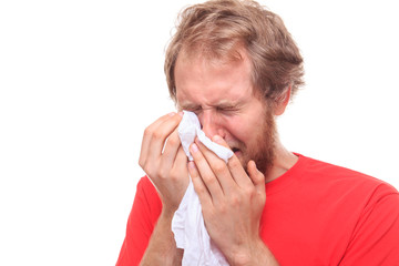 Man crying into his handkerchief