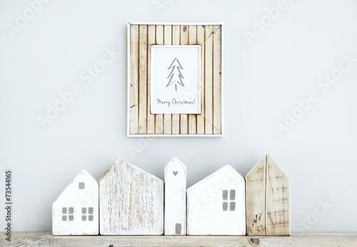 MERRY CHRISTMAS scandinavian  room interior with small houses - 73544165