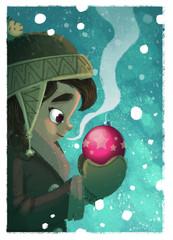 niña con bola de navidad
