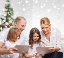 happy family with tablet pc computers at home
