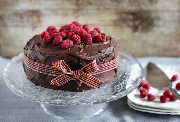 Raspberry and chocolate molten ganache cake