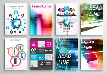 Set of Flyer Design, Brochure Designs, Infographics  Backgrounds