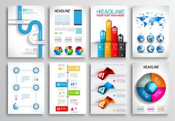 Set of Flyer Design. Brochure Designs, Infographics  Backgrounds