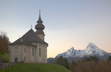 Maria Gern Church in the Alps in the Morning