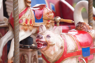 Detail of a old historic carousel