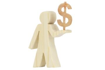 Dollar Holz Figur freigestellt 2