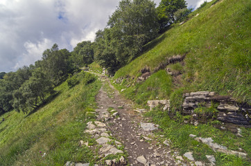 Mountain trail in Italian Alps.