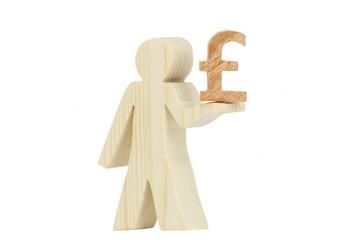 Pfund Symbol Holz Männchen freigestellt 1