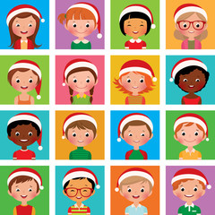 Icon set portraits of boys and girls in the Santa hat
