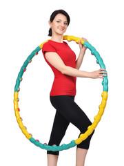 young girl holding hula hoop