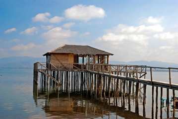 A typical lagoon house of the doiranii area Greece; it is used b