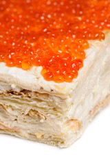 layered red caviar pie