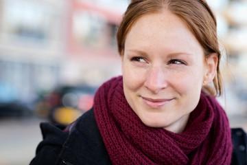 Autumn Portrait - Happy Woman in a City