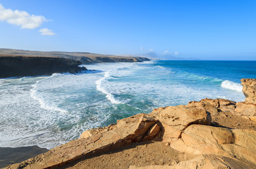 La Pared beach and ocean bay on coast of Fuerteventura island