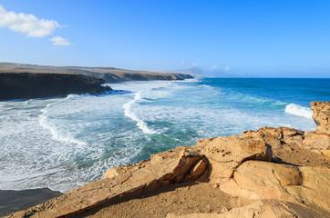 La Pared beach and ocean bay on coast of Fuerteventura island