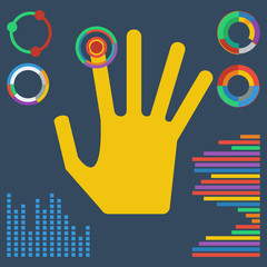 illustration with brightly colored hand clicking on a virtual bu