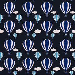 vector hot air balloons seamless pattern background