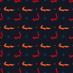 bright cartoon ginger and red fox vector seamless pattern on the