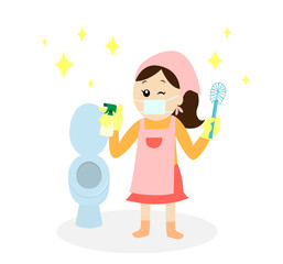 A happy woman wearing a mask and an apron cleaning the toilet