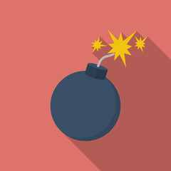 Icon of Bomb with sparkles. Flat style
