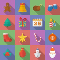 Set of Christmas icons. Flat style