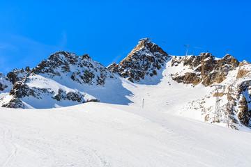 Ski slope and lift in Austrian winter resort of Pitztal, Austria