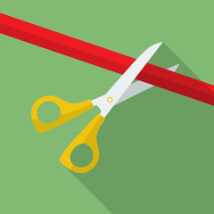 Icon of Scissors Cutting the Ribbon. Flat style