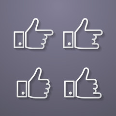 Thumbs up icon set. Flat style