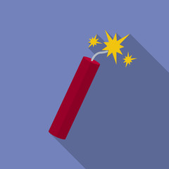 Icon of Dynamite with sparkles. Flat style