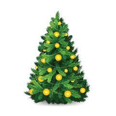 Beautiful christmas tree with gold balls