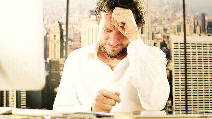 Handsome man crying for financial crisis in office in New York