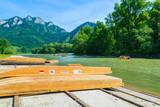 Wooden rafting boats on shore of Dunajec river, Pieniny, Poland