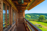Balcony of a wooden house in Bieszczady Mountains, Poland