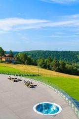 Jacuzzi pool on terrace of a Arlamow hotel, Bieszczady Mountains