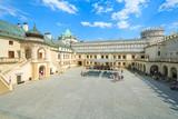 Courtyard of Krasiczyn castle on sunny summer day, Poland