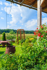 Garden of a traditional house in countryside area of Poland