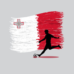 Soccer Player action with Republic of Malta flag on background