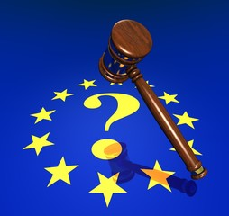 EU-Rights, hammer and questionmark