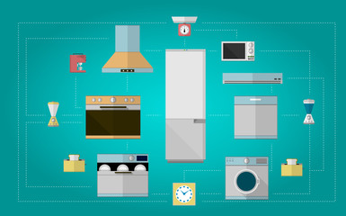 Colored flat icons for kitchen appliances