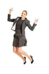 Cheerful jumping businesswoman