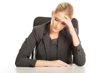 Businesswoman tired of work