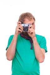 Studio portrait of man photographing