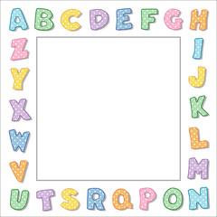 Alphabet Frame, pastel polka dot border, square copy space
